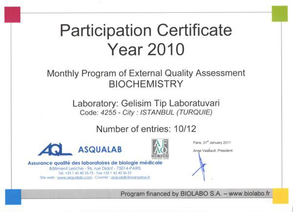 Biochemistry belgesi 2010